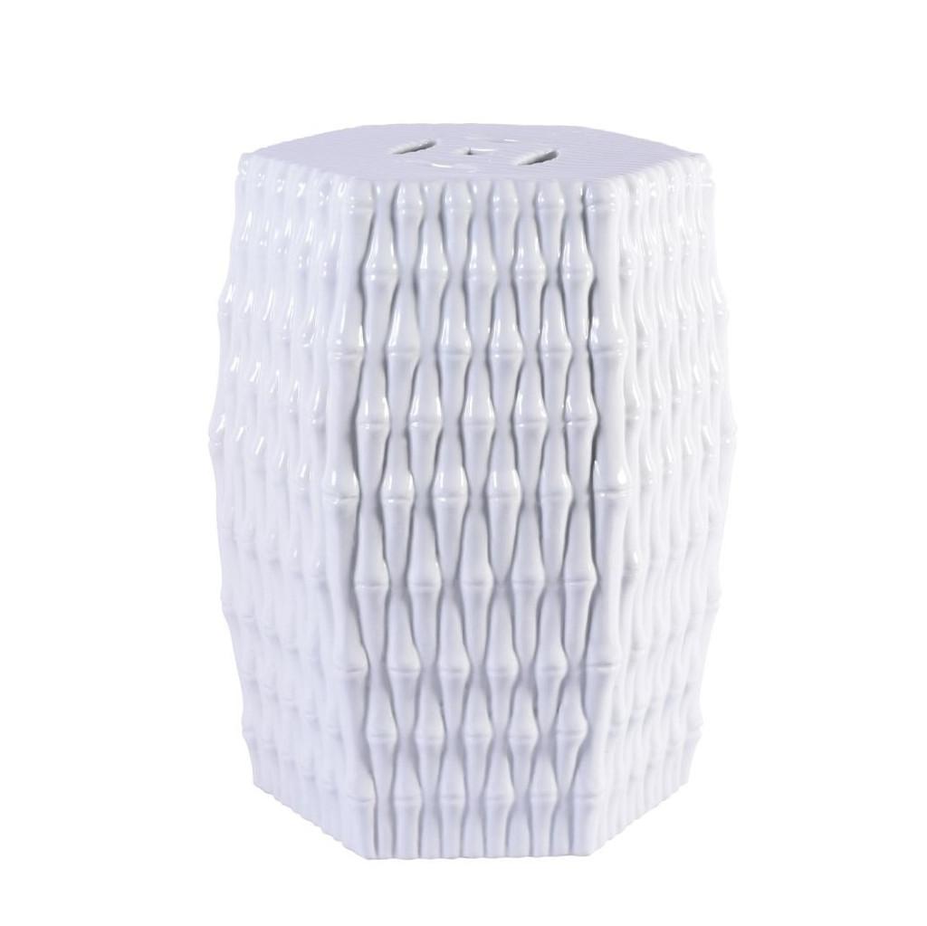 White Hex Porcelain Garden Stool Bamboo Carving