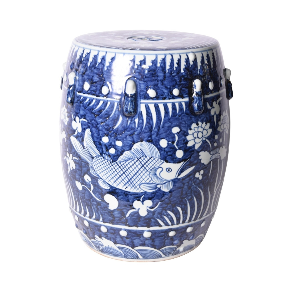 Blue Fish Lotus Porcelain Garden Stool