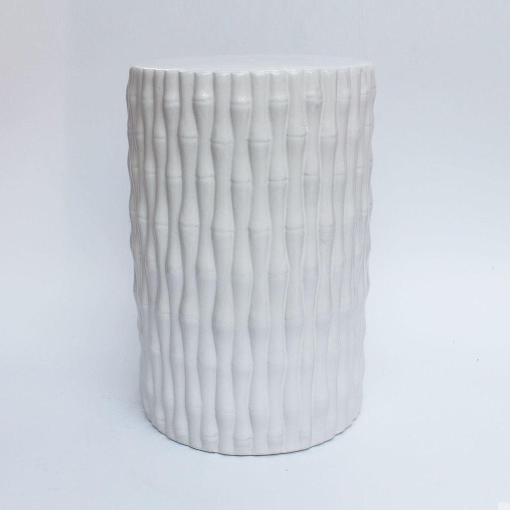 White Cylinder Porcelain Garden Stool Bamboo Carving