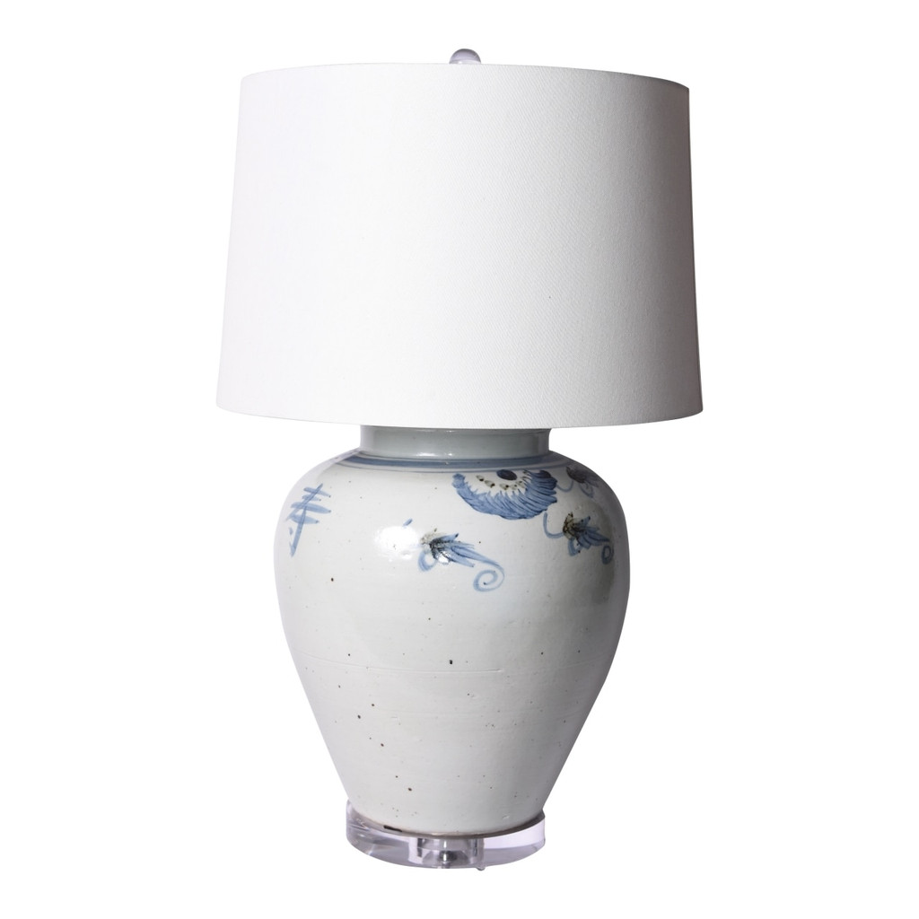 Blue & White Silla Longevity Wide Mouth Porcelain Jar Lamp