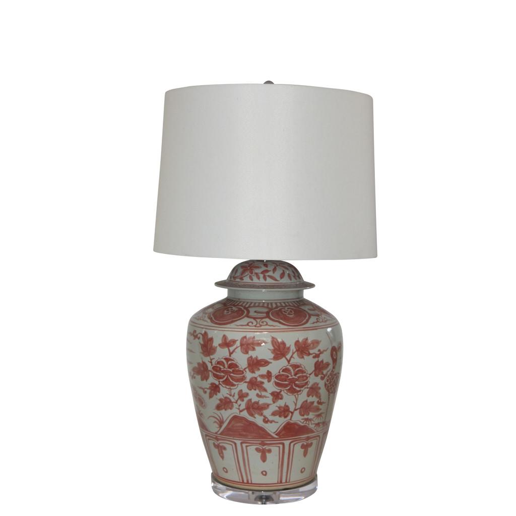 Underglaze Red Barn Porcelain Jar Bird Motif Lamp
