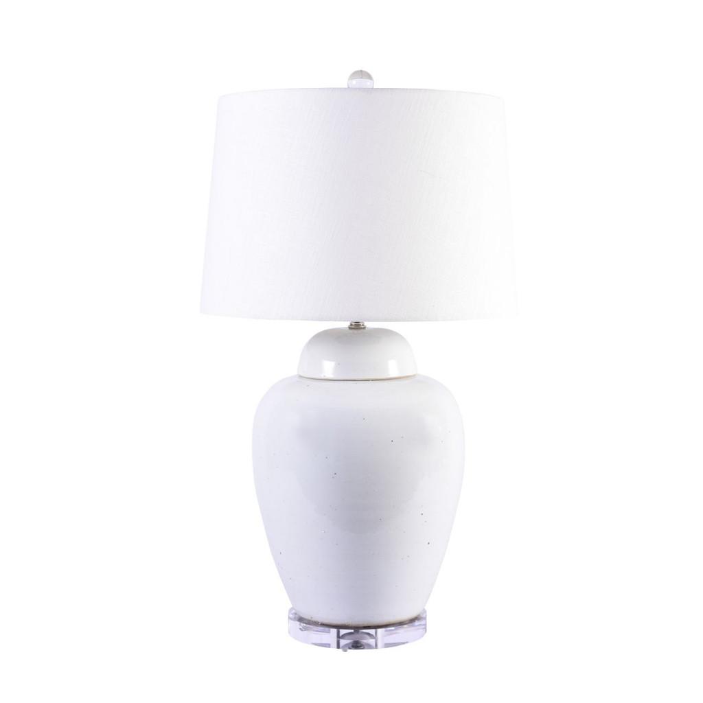 Busan White Lidded Porcelain Jar Tall Lamp