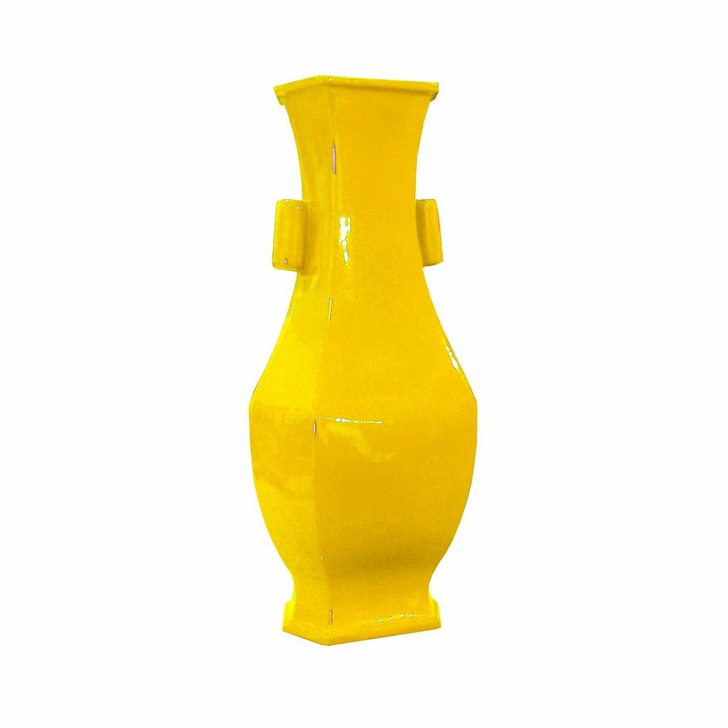 Hex Porcelain Vase Wide Lip - Yellow