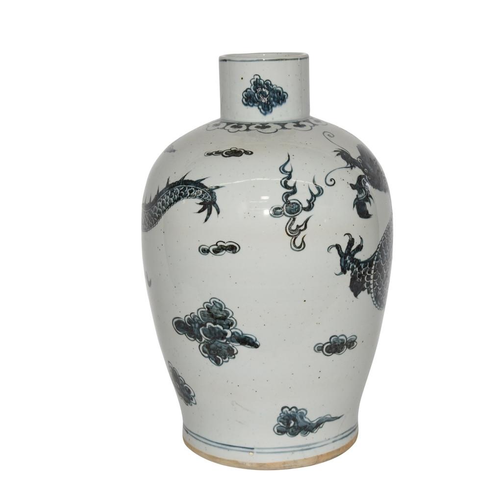 Blue & White Baluster Dynasty Porcelain Vase Dragon