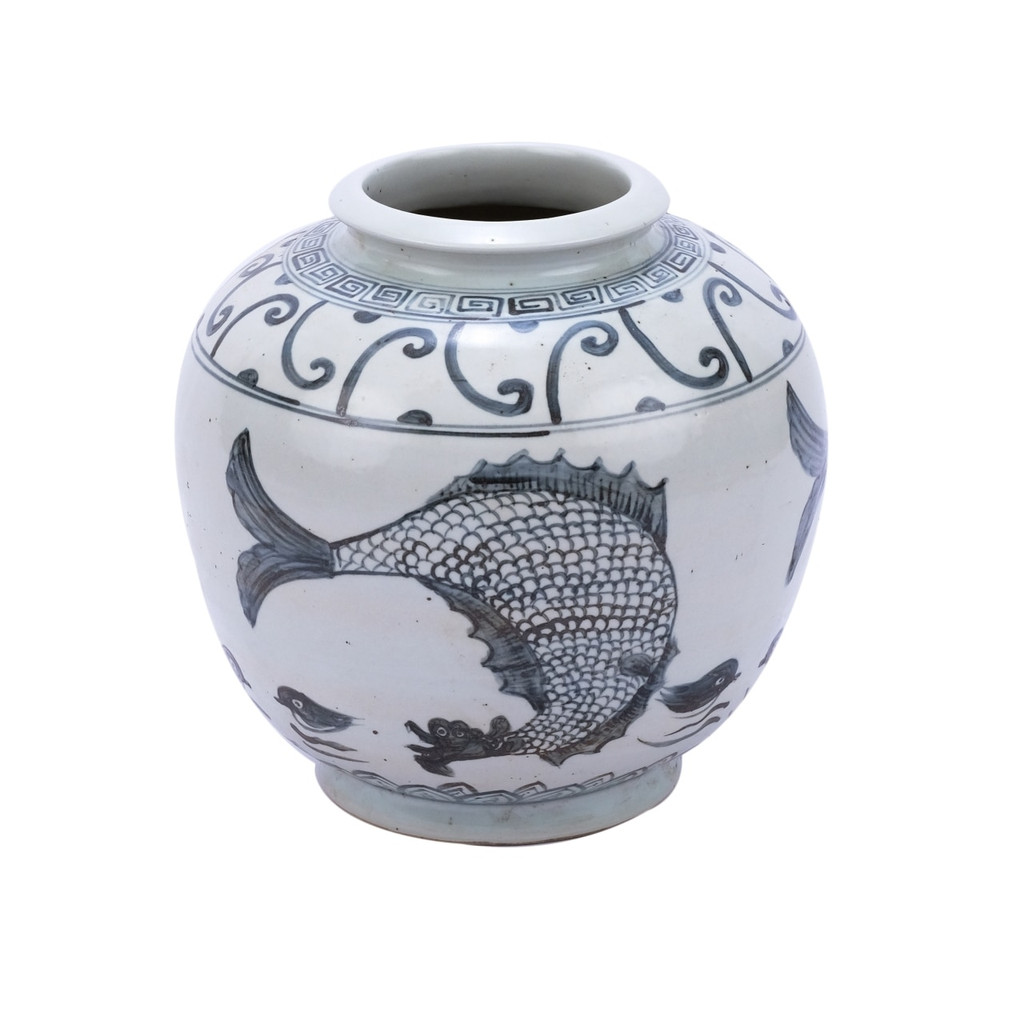 Blue & White Yuan Fish Open Top Porcelain Jar