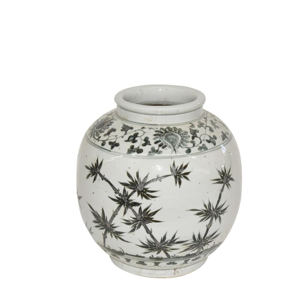 Blue & White Flower Bamboo Open Top Porcelain Jar