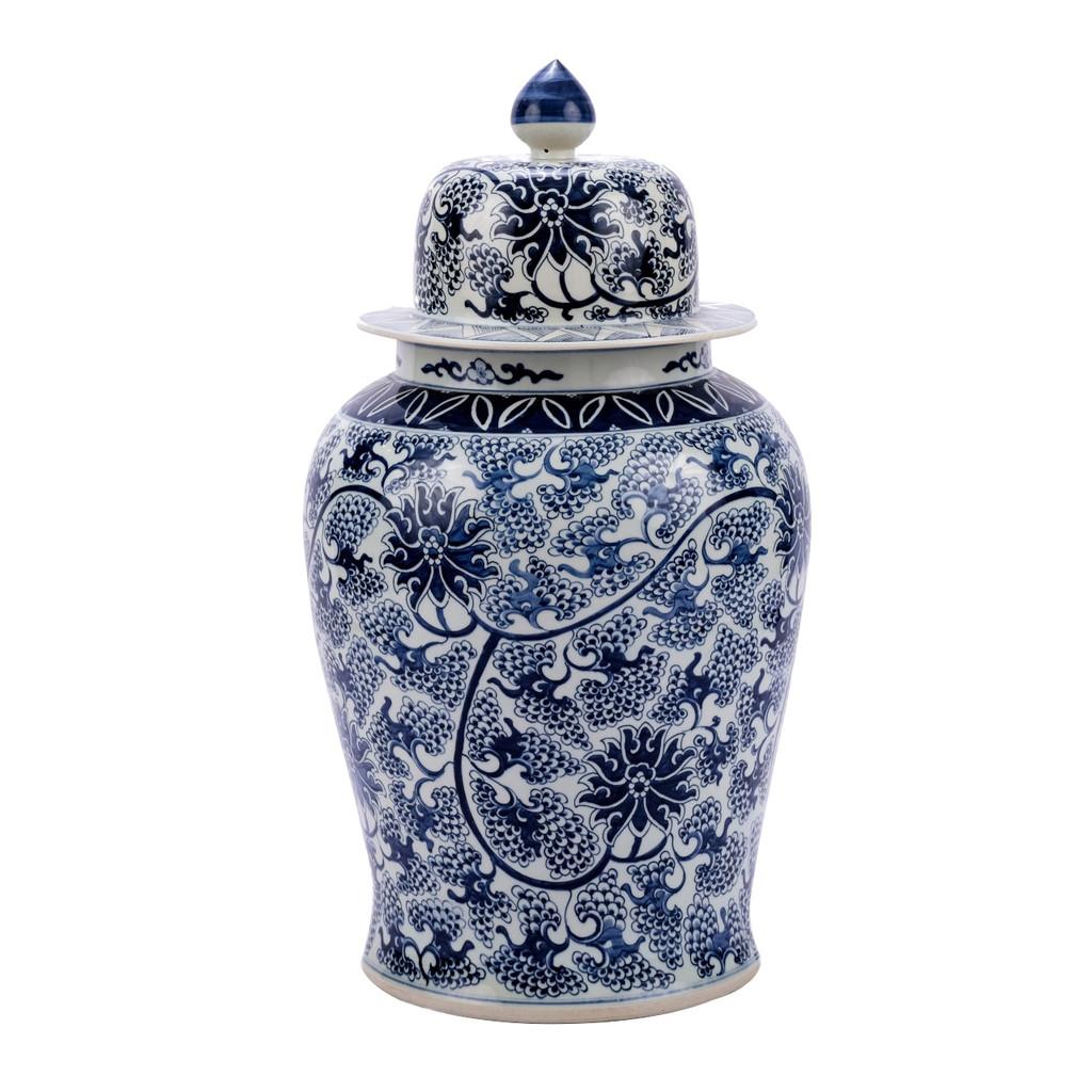Blue & White Peacock Lotus Temple Porcelain Jar - XL