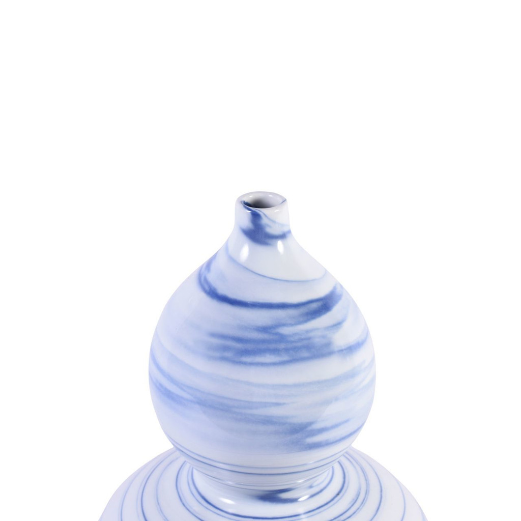 Blue And White Marblized Gourd Porcelain Vase
