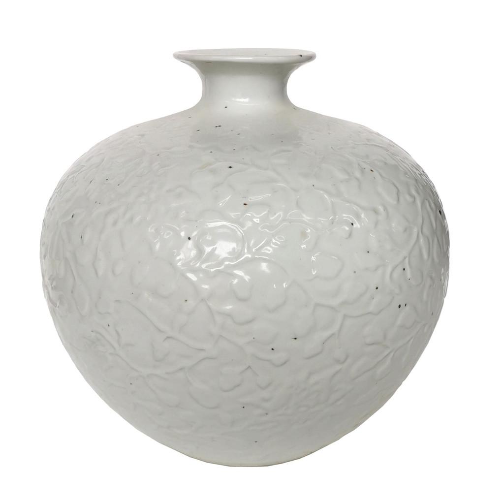 Vintage White Carved Curly Vine Pomegranate Vase