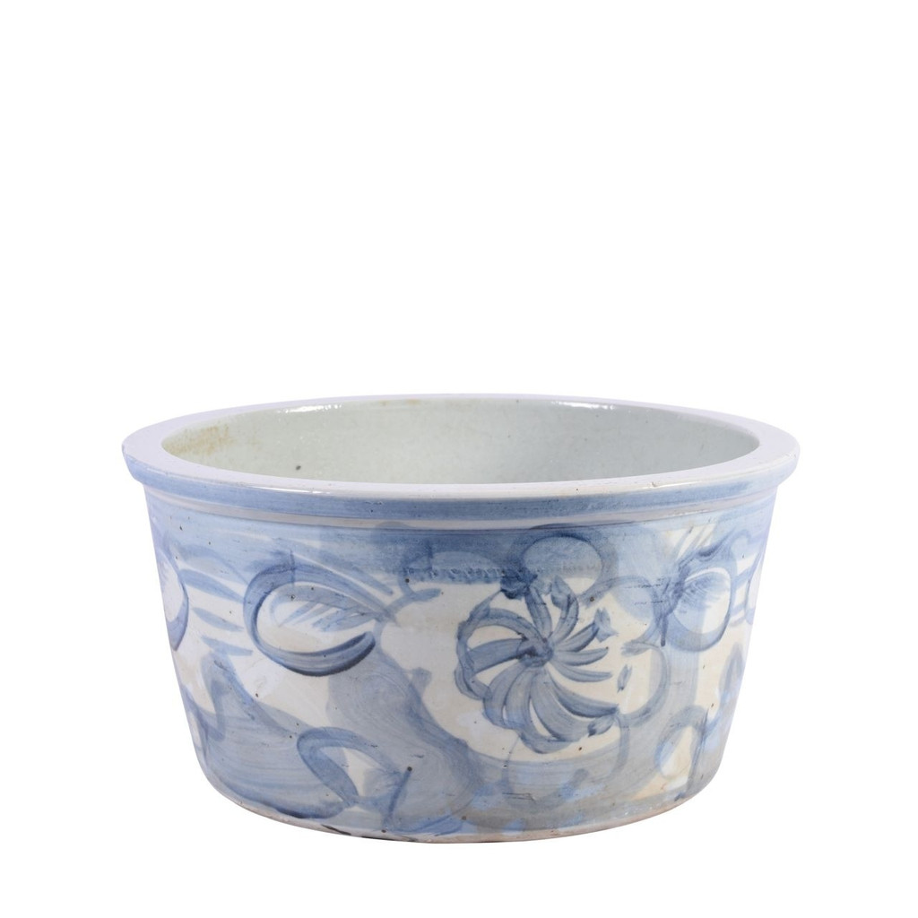 Blue And White Porcelain Basin Twisted Flower Motif