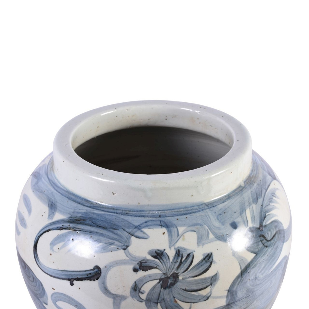 Blue And White Porcelain Twisted Flower Wide Open Top Jar