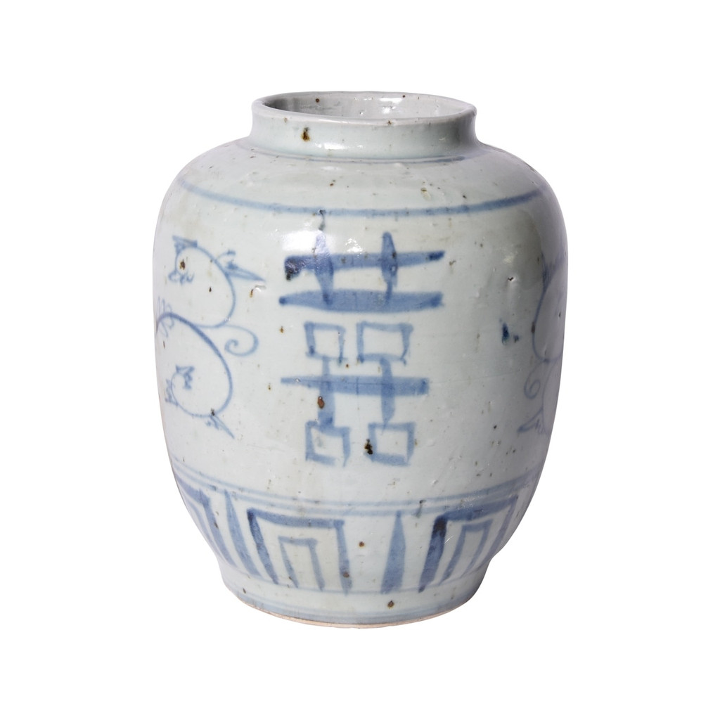 Blue & White Silla Small Pot Seagrass Double Happiness Motif