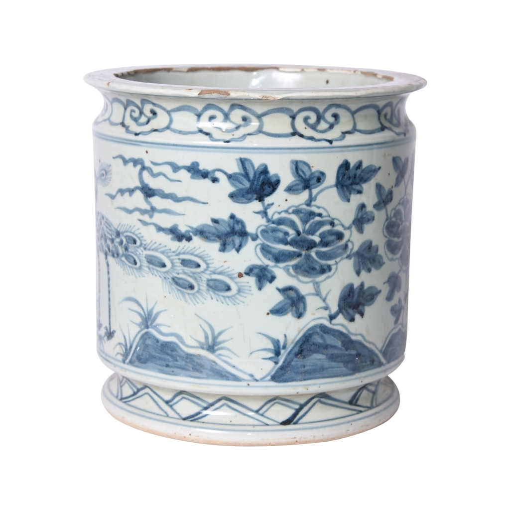 Blue and White Orchid Pot Bird Motif