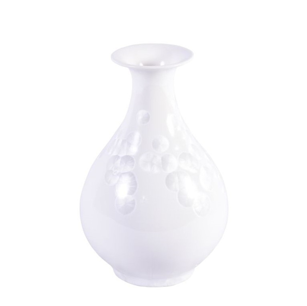 White Crystal Shell Pear Shaped Porcelain Vase Small