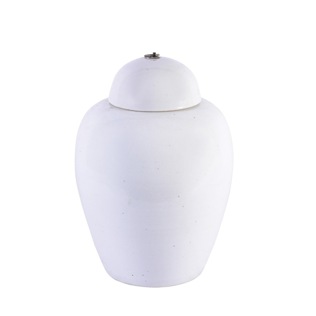 Busan White Lidded Porcelain Jar Bronze Ring - 2 Sizes