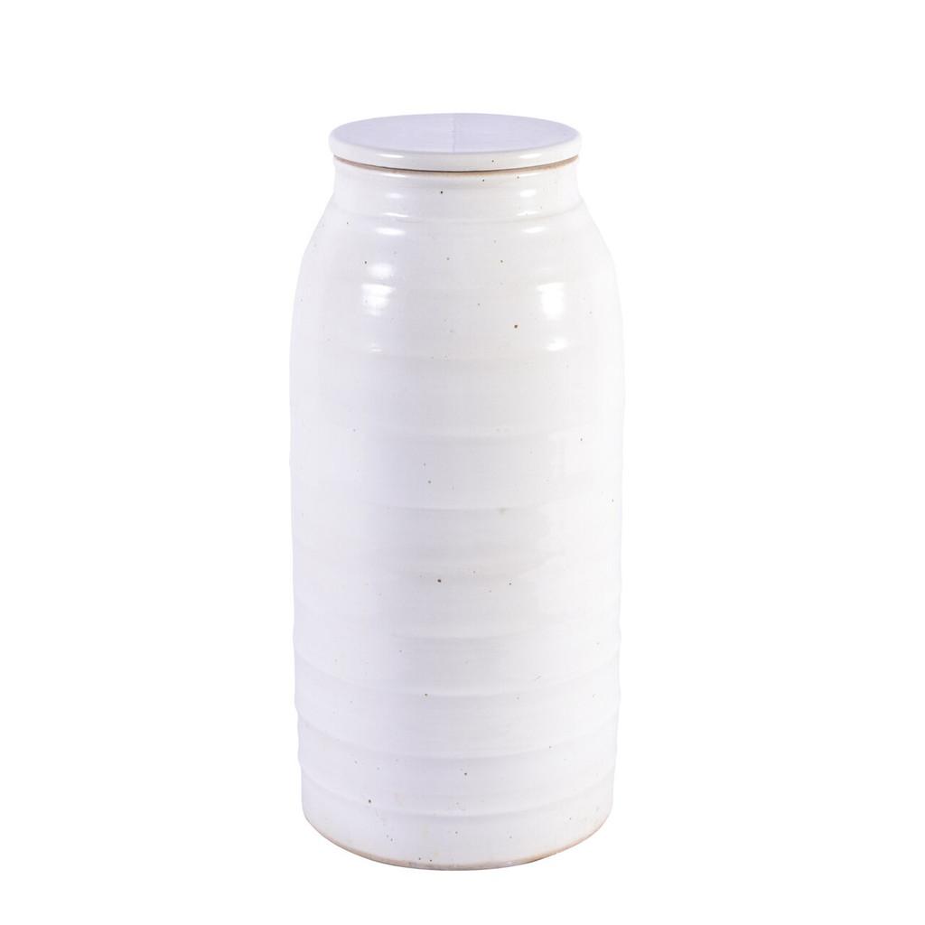 Busan White Flat Lidded Porcelain Jar - 2 Sizes