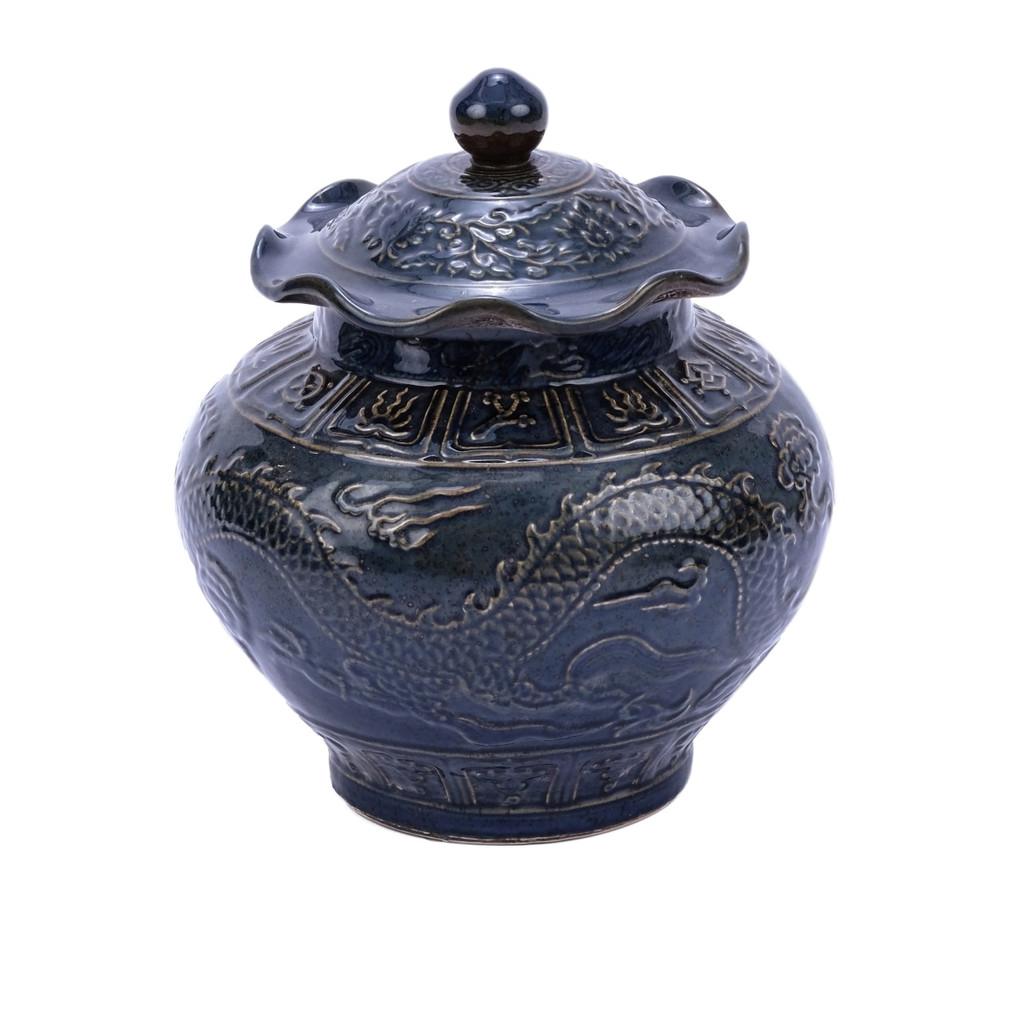 Carved Dragon Lotus Porcelain Jar Rust Charcoal