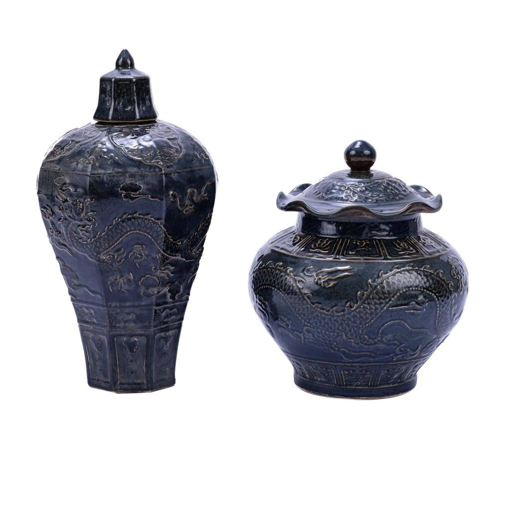 Carved Dragon Plum Porcelain Vase Rust Charcoal