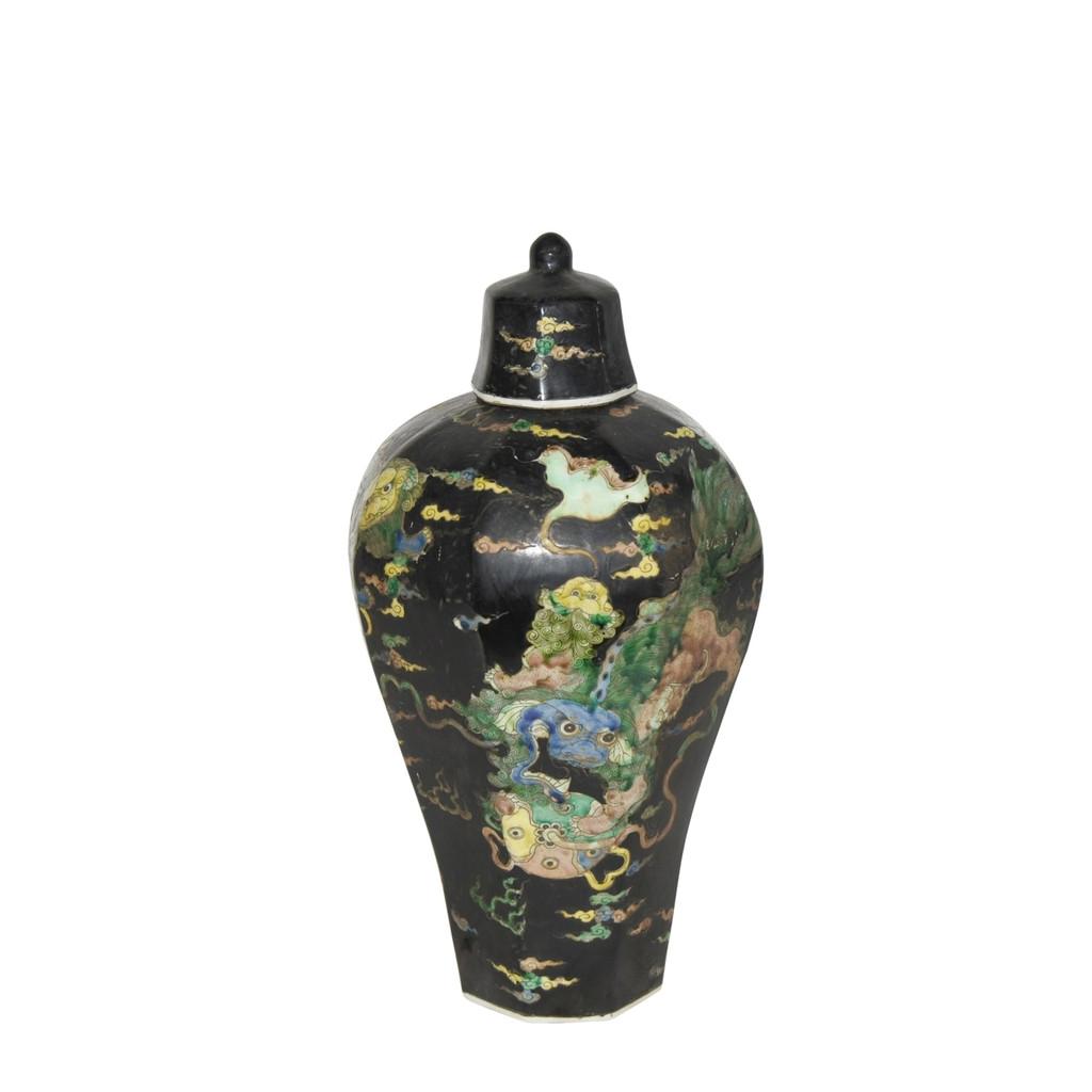 Black Hex Lidded Prunus Porcelain Vase Lion Motif