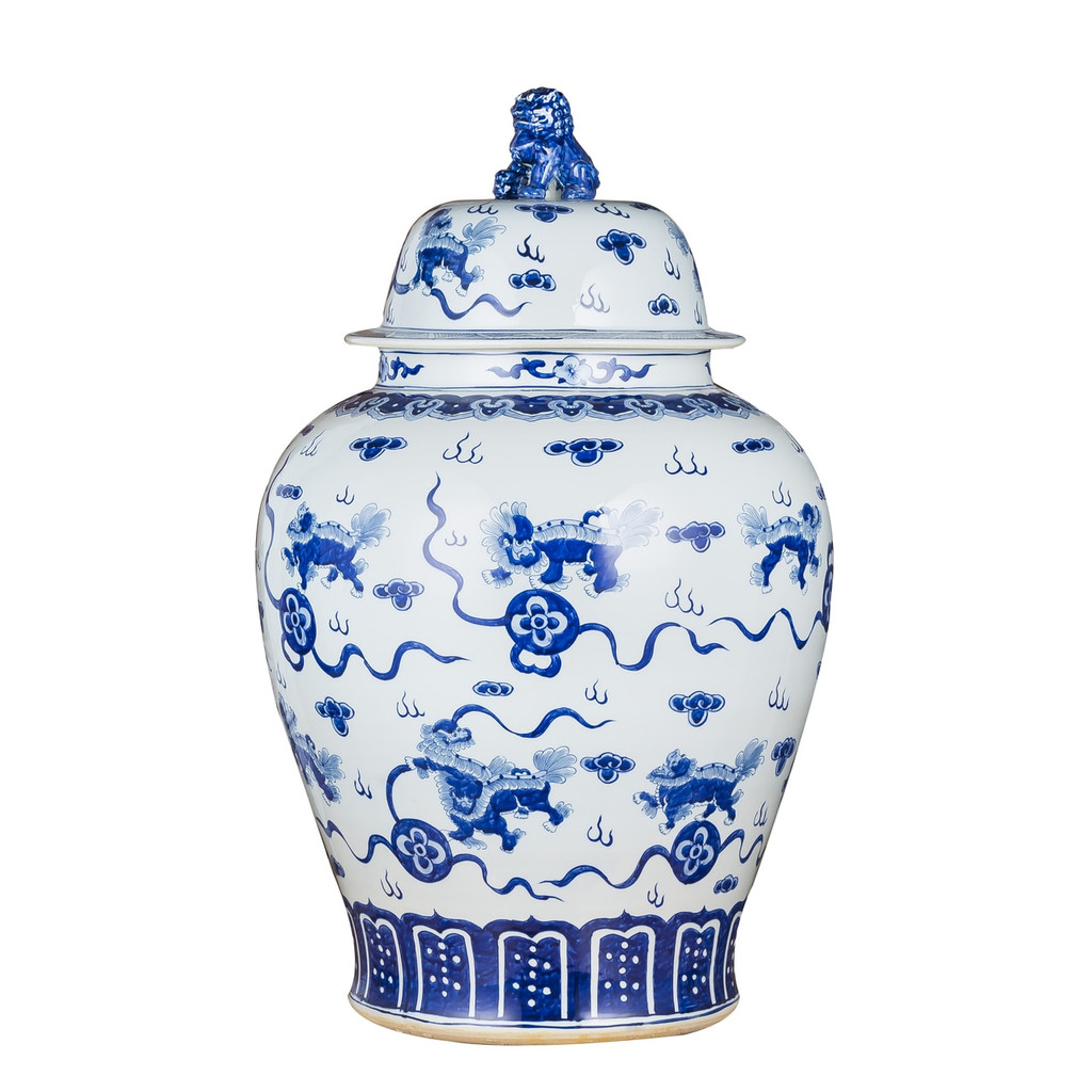 Blue & White Playing Foo Dog Temple Porcelain Jar Lion Lid XL