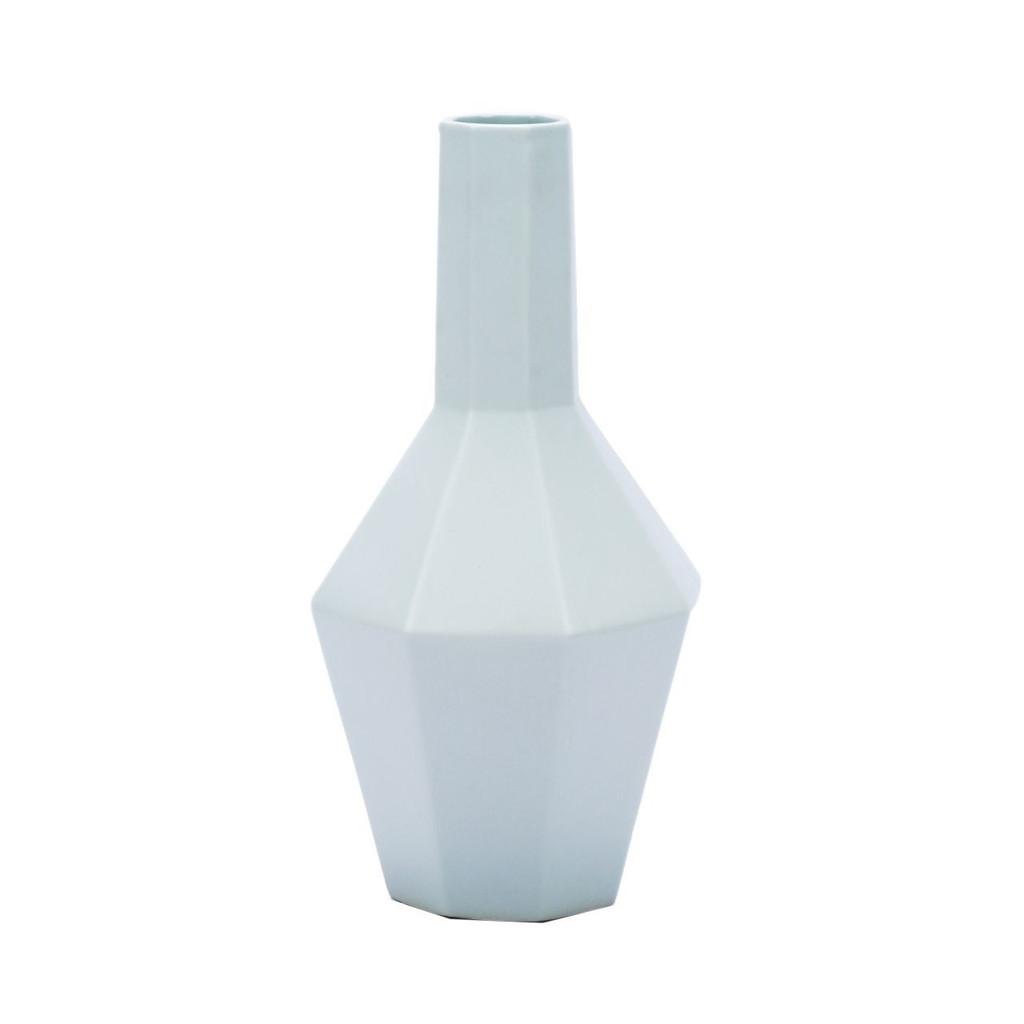 White Hex Spindle Porcelain Vase - 2 Sizes