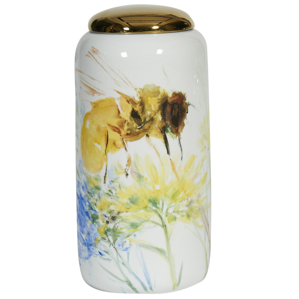 Colored Bee Cylinder Porcelain Jar - 2 Sizes
