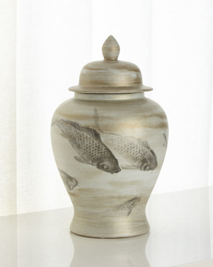 Ink Painting Koi Temple Porcelain Jar - 2 Sizes