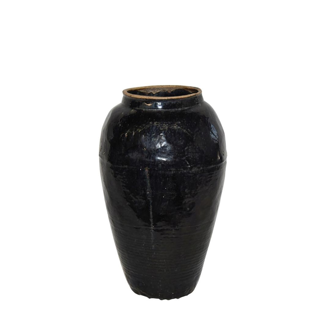 Vintage Black Porcelain Wine Jar Large - Circa 1900