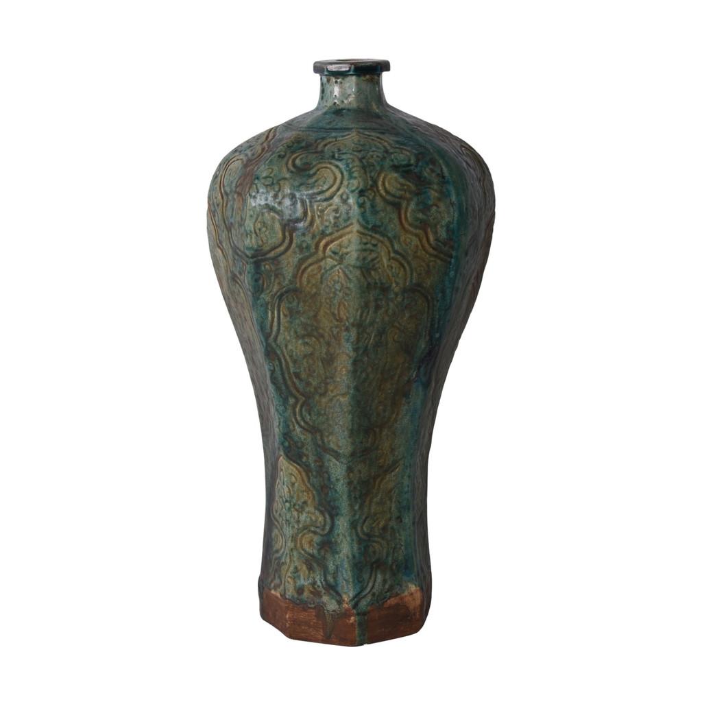 Speckled Green Octagonal Embossed Plum Vase