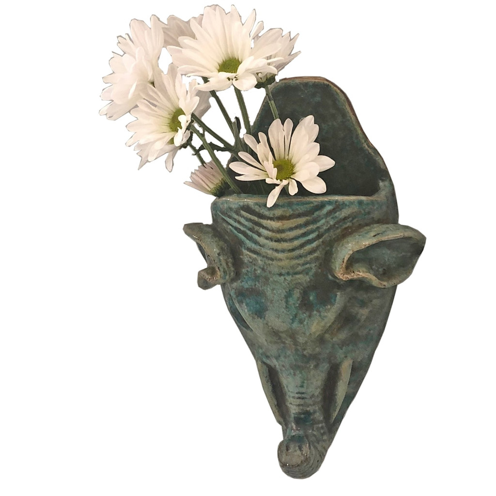 Pair of Speckled Green Hanging Elephant Vases
