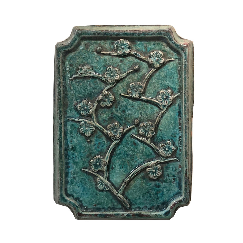 Pair of Speckled Green Plum Blossom Wall Plaques