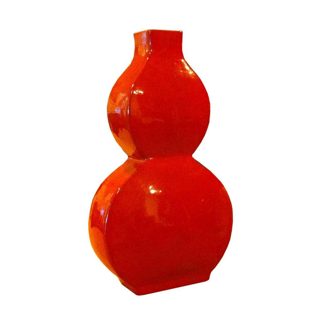 Flat Gourd Vase - Cinnabar Red