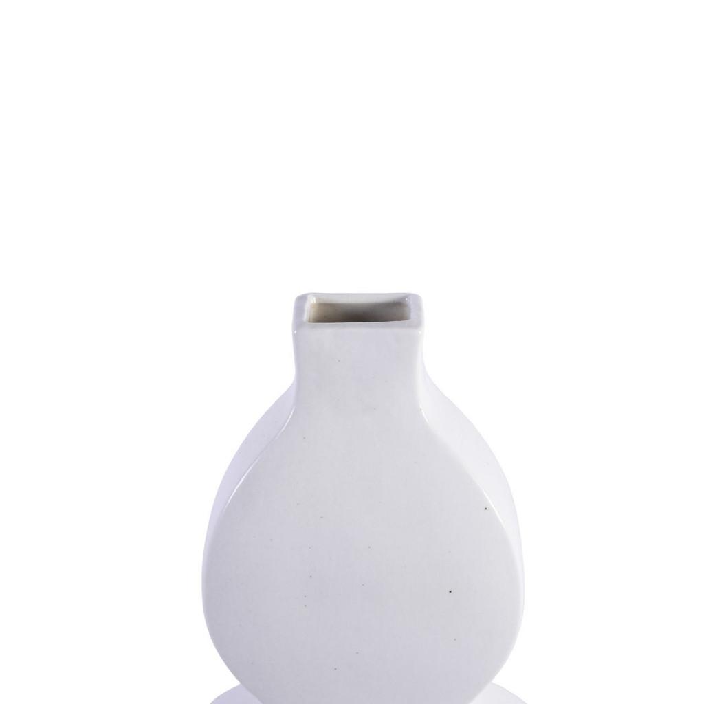 Flat Gourd Vase - Matte White