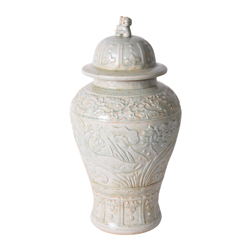 Sage Green Embossed Fish Temple Jar