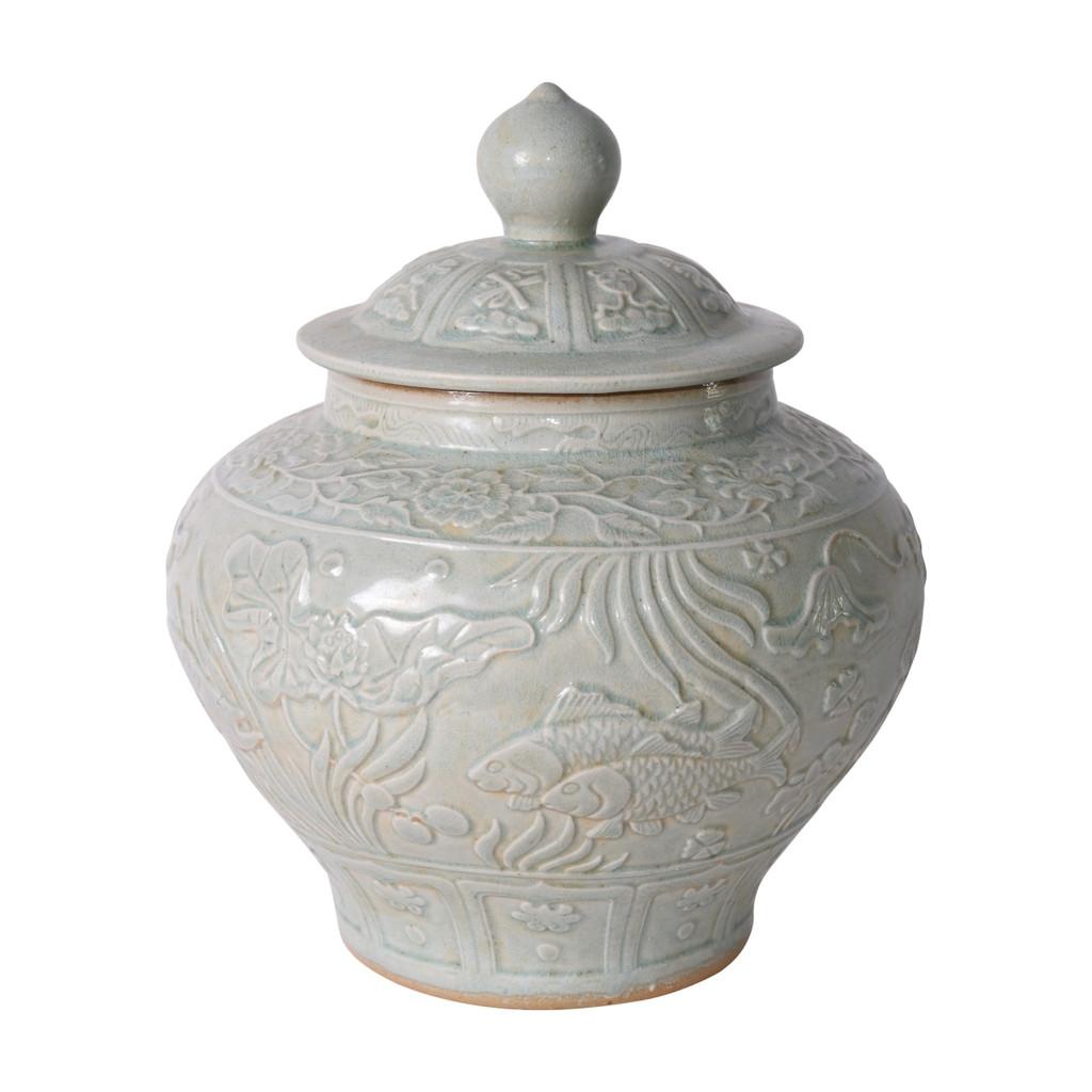 Sage Green Embossed Fish Porcelain Ginger Jar