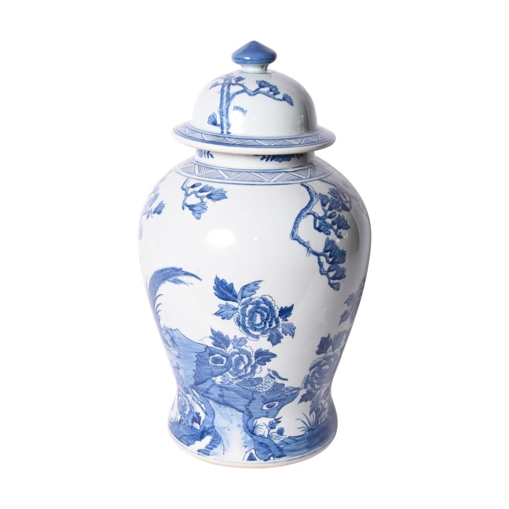 Blue & White Porcelain Magnolia Pheasant Porcelain Temple Jar