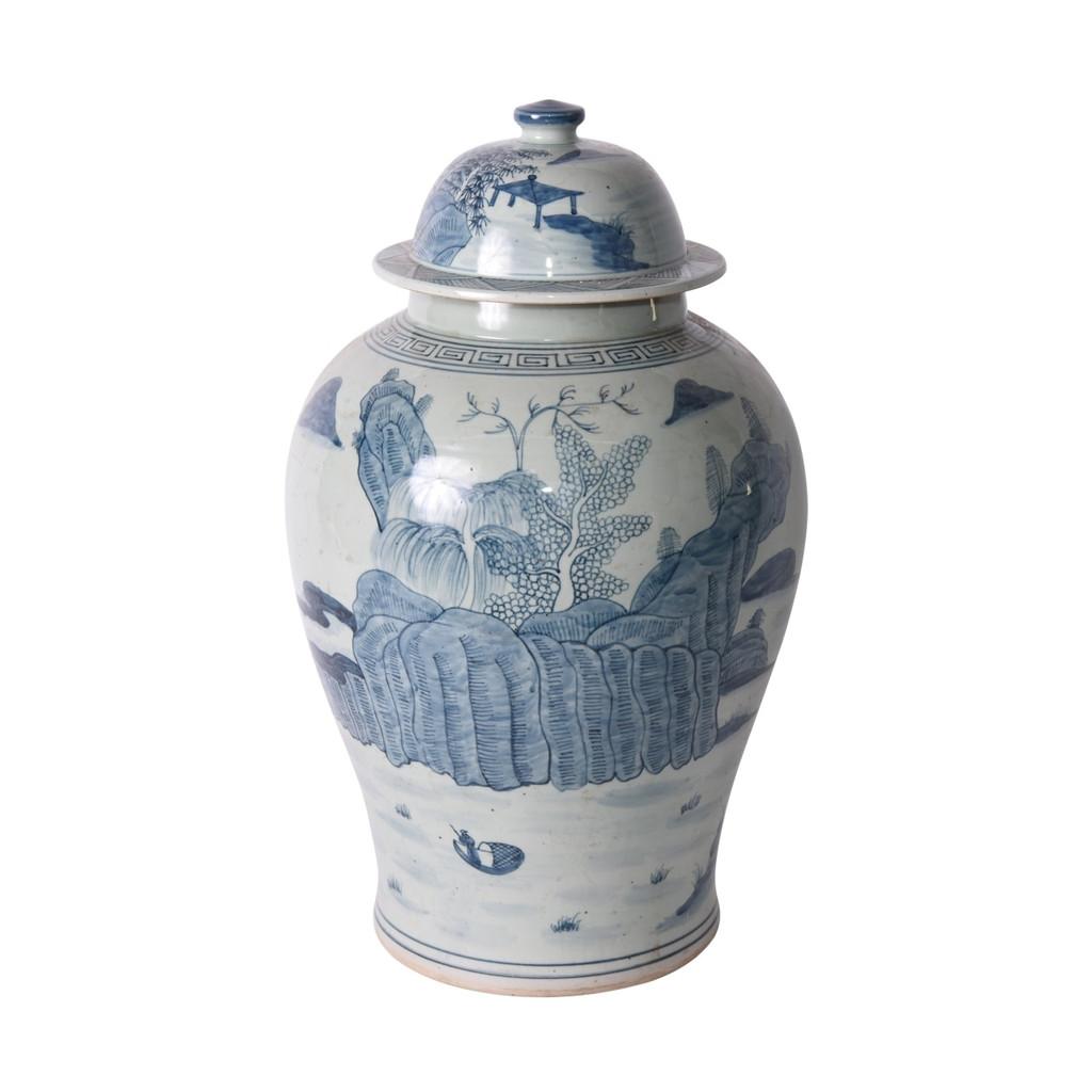 Blue And White Porcelain Temple Jar Landscape Greek Key Trim