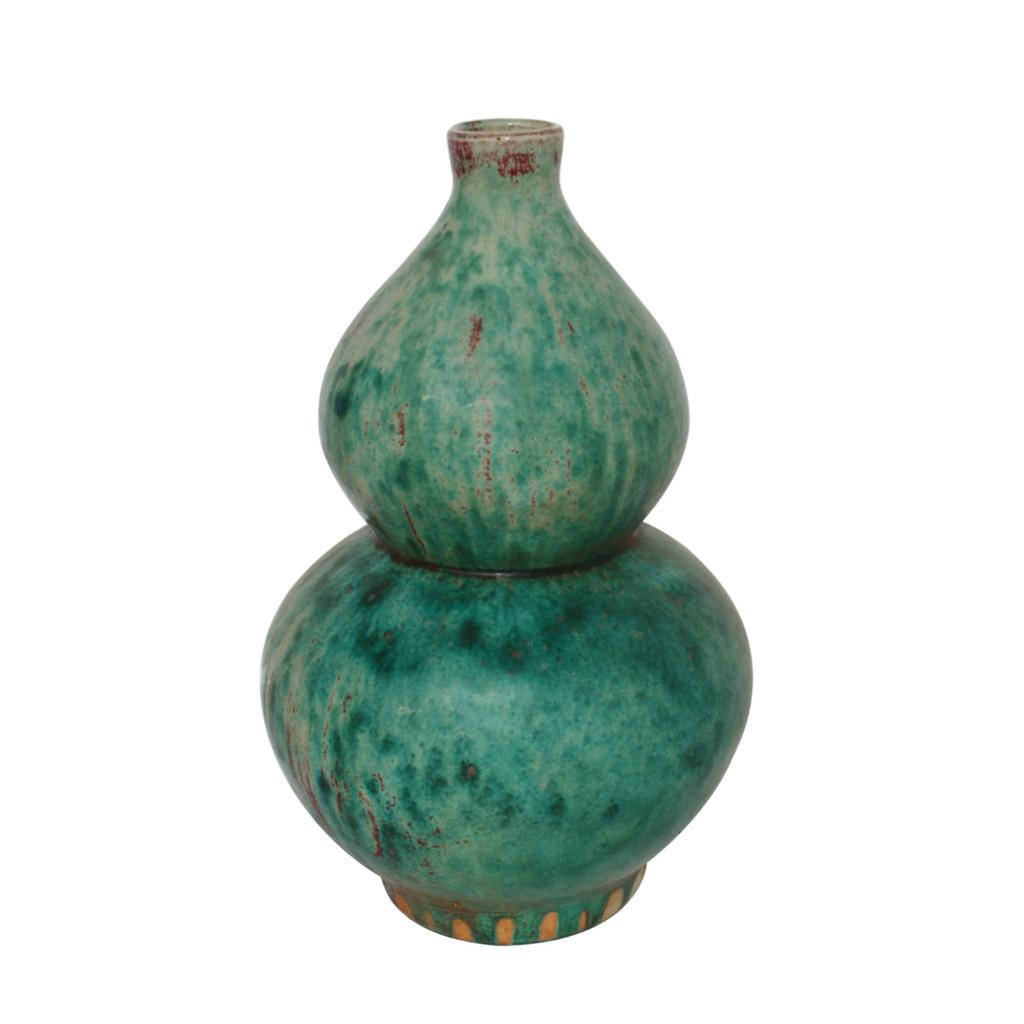 Speckled Green Gourd Vase
