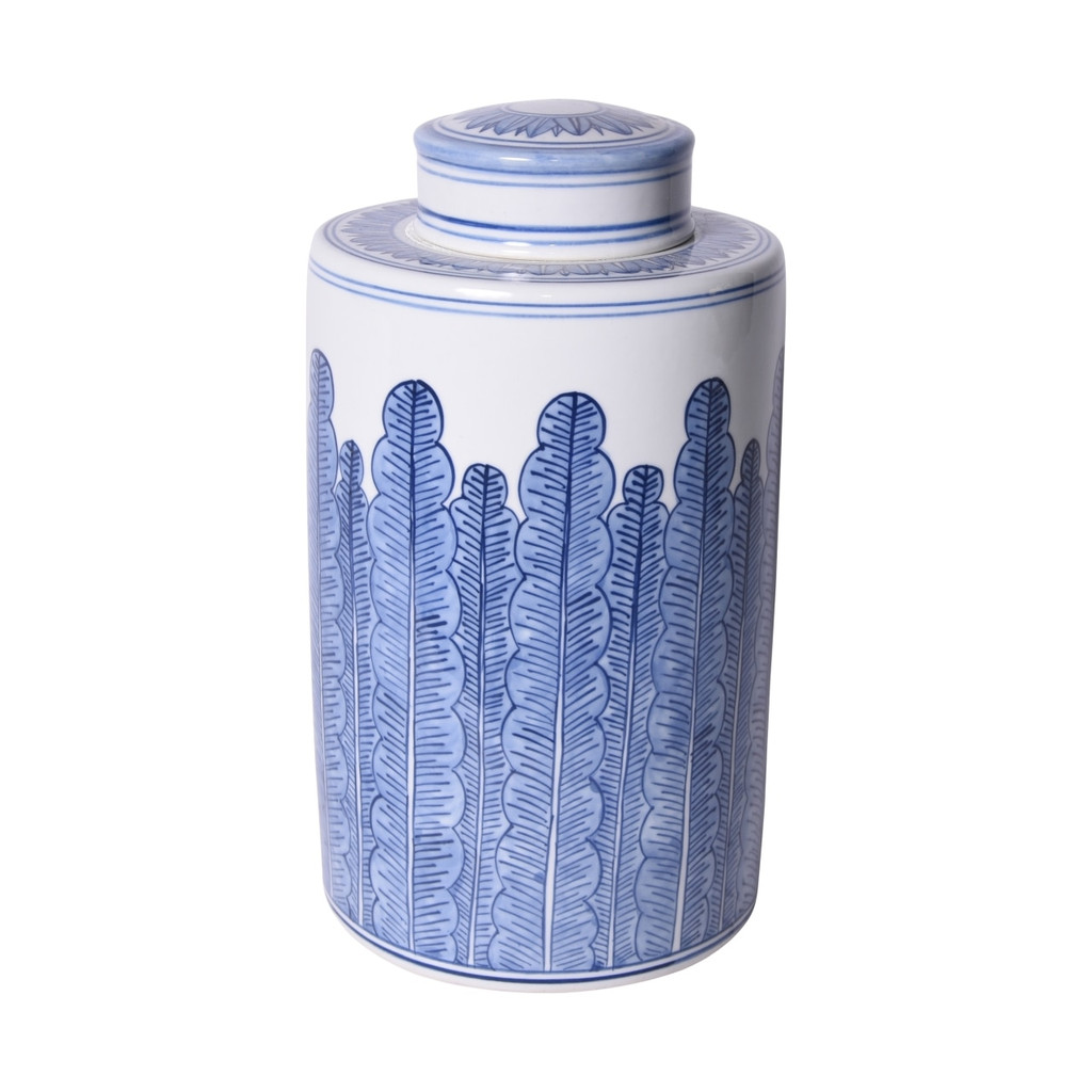 Blue And White Porcelain Tea Jar Banana Leaf Motif