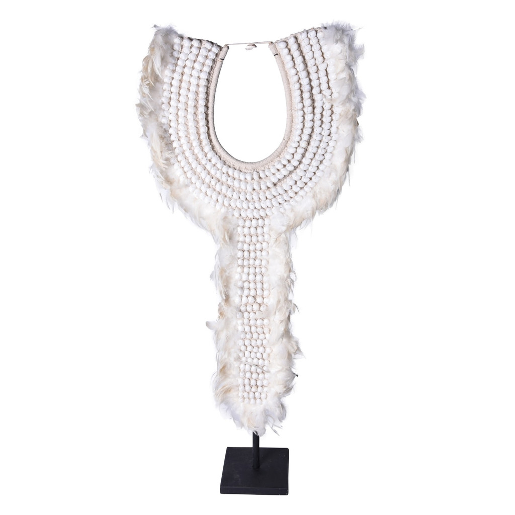 Tall Tribal Shell & White Feather Necklace On Iron Stand