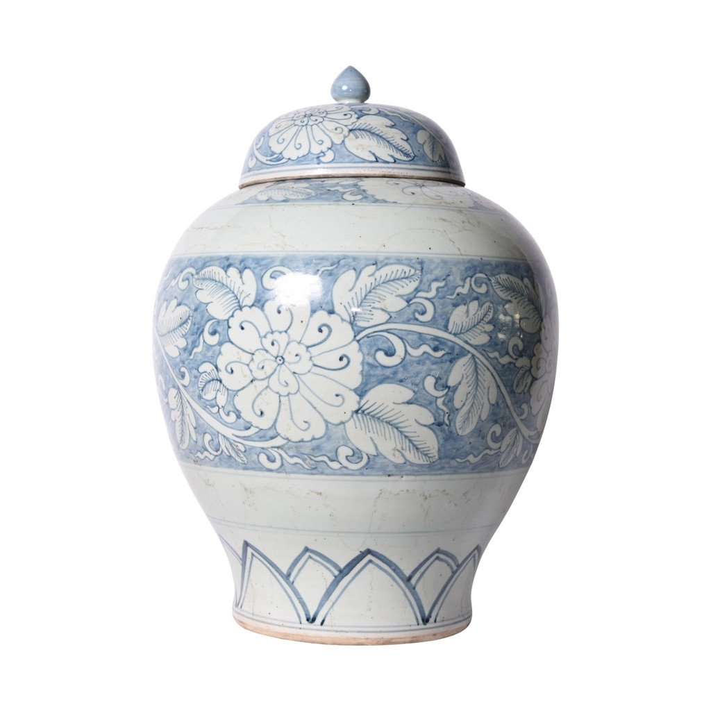Blue And White Lidded Peony Jar