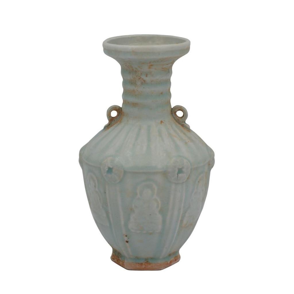 Celadon Hexagonal Double Ear Vase