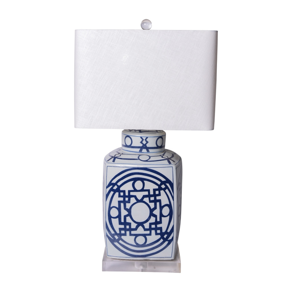 Blue & White Porcelain Square Tea Jar With Pattern of Lines Lamp ( Specify Shade Choice )