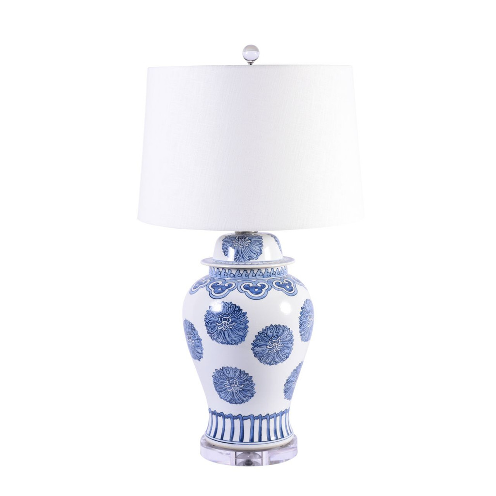 Blue & White Porcelain Multi Flower Lamp