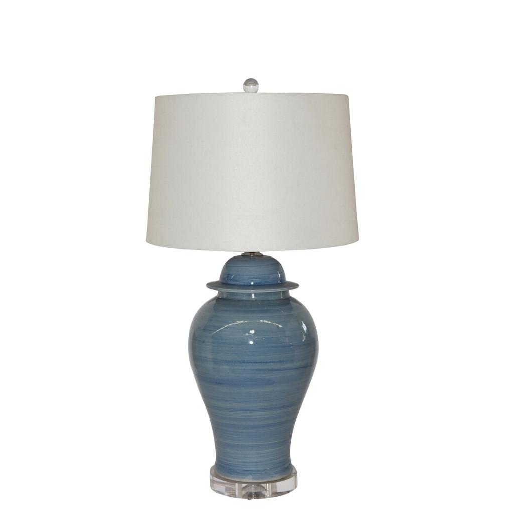 Table Lamp Lake Blue Temple Jar 20H