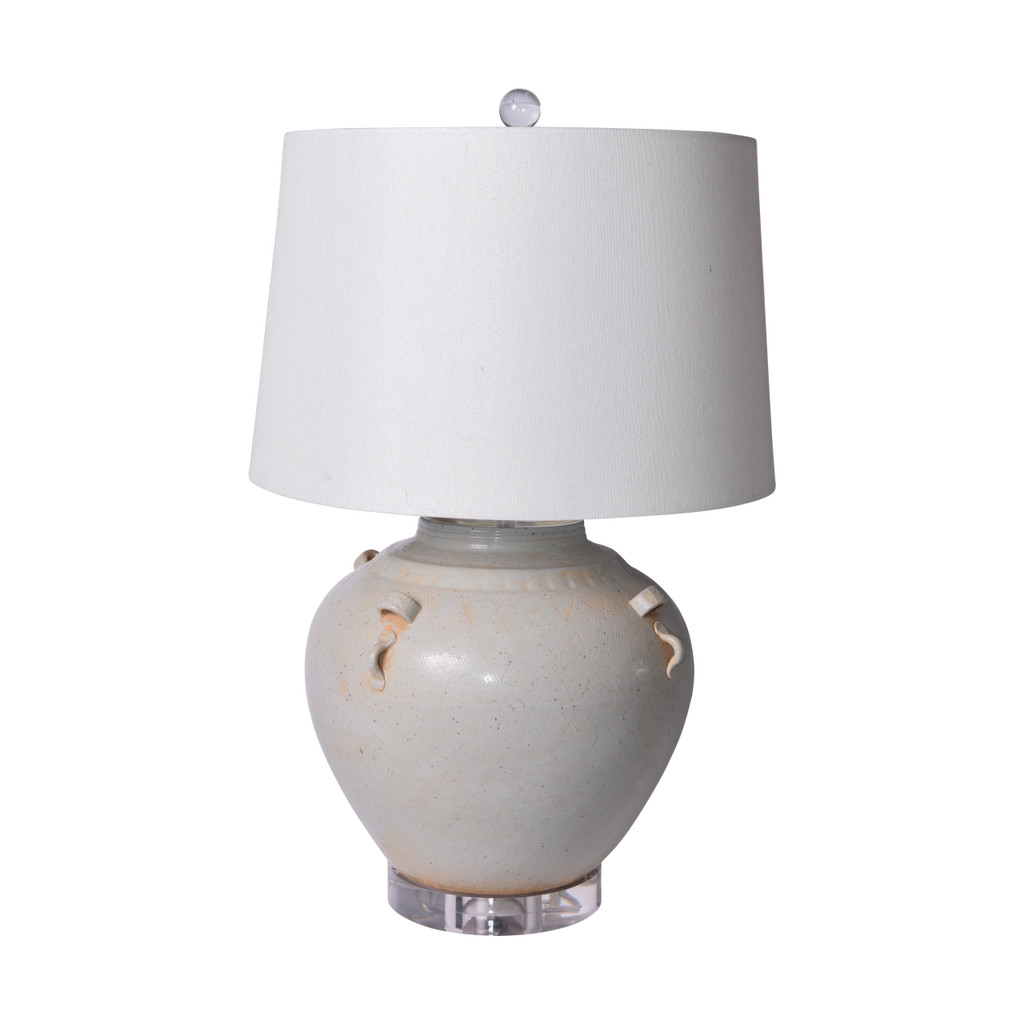 Celadon Four Ear Ancestor Wine Jar Table Lamp