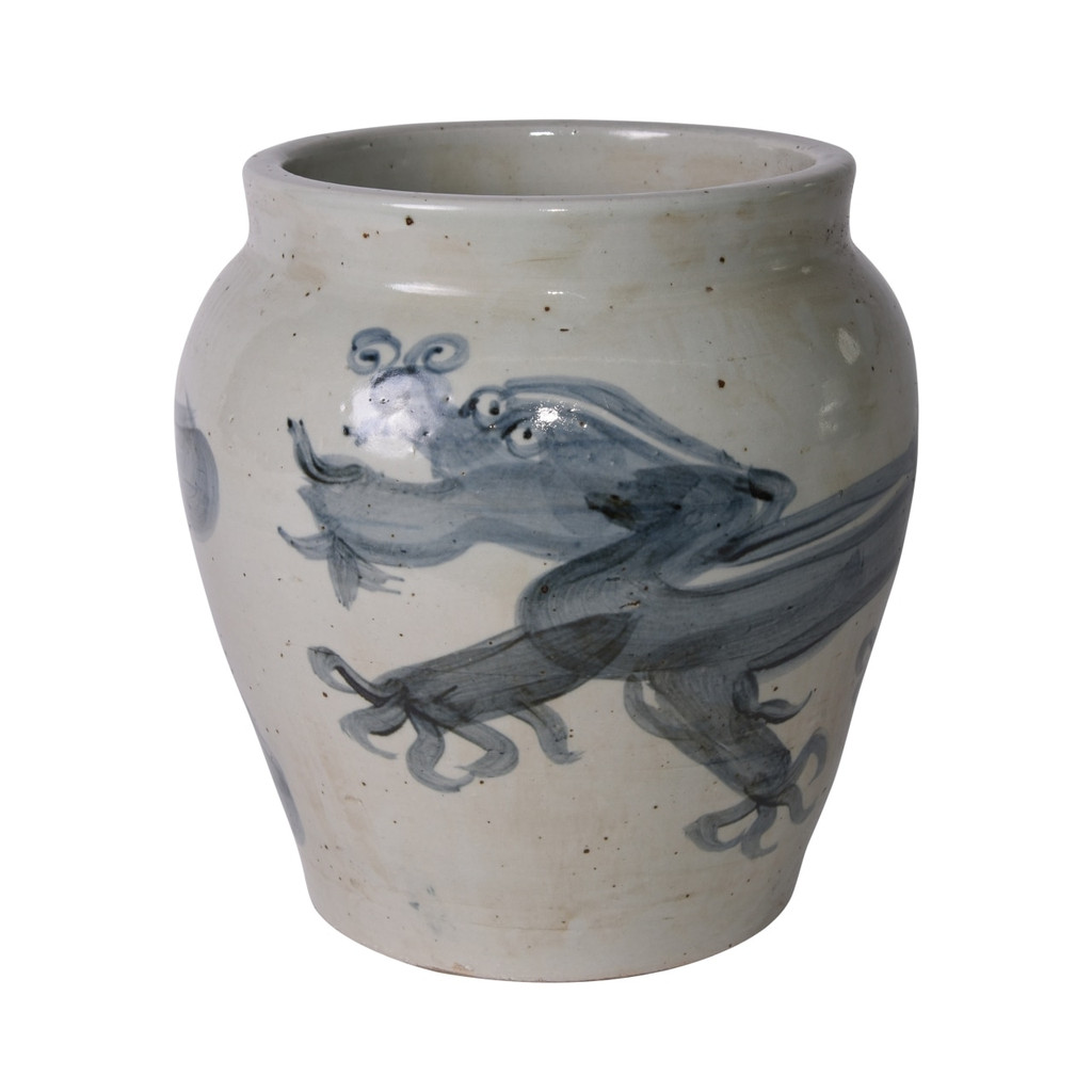 Blue And White Yuan Dragon Open Top Jar