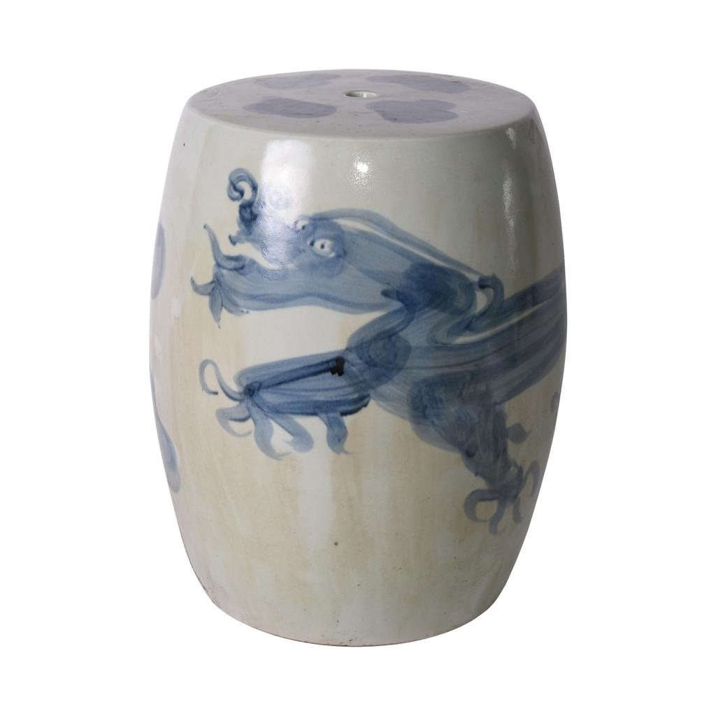 Blue And White Yuan Dragon Garden Stool