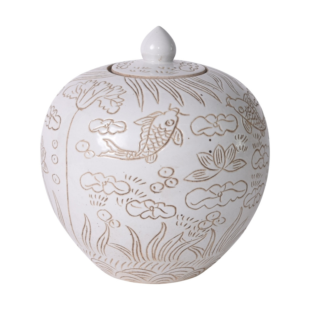 Matte White Carved Fish Melon Jar