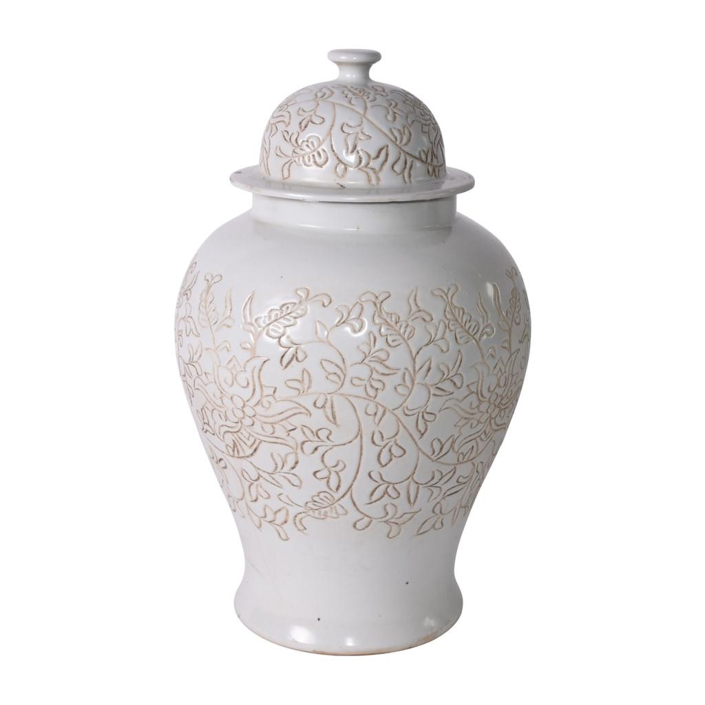 Matte White Carved Floral Temple Jar
